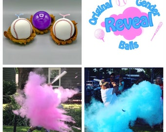 3 Baseballs Gender Reveal Combo: Blue, Pink, and Practice Ball Gender Reveal Baseball
