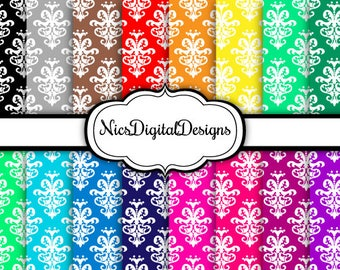 Buy 2 Get 1 Free-16 Digital Papers. Damask 4 in Rainbow Colours (2H no 4) for Personal Use and Small Commercial Use Scrapbooking