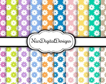 Buy 2 Get 1 Free-20 Digital Paper-Pastel Daisies in Pastel Colours (6E no 2) for Personal Use and Small Commercial Use Scrapbooking