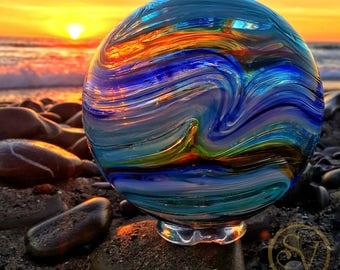 Stunning Blown Glass Float Wall Art | Lincoln City Oregon | Fishing Float | Coastal Home Decor | California Ocean | Beach Glass Photo Art
