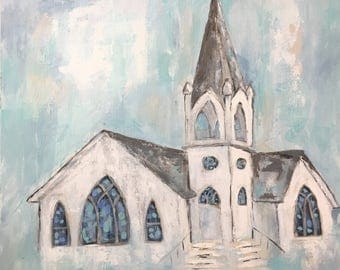"Grace/24""x24""/original acrylic painting/white church/blue/country living/old church/stained glass windows/ steeple/impressionism/aqua"