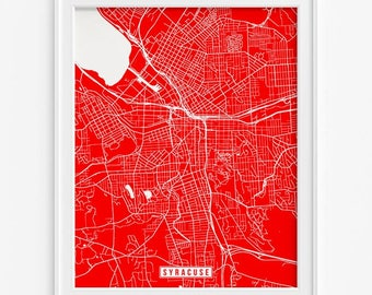 Syracuse Print, New York Poster, Syracuse Map, New York Print, Syracuse Poster, New York Map, Street Map, Home Decor, Valentines Day Gift