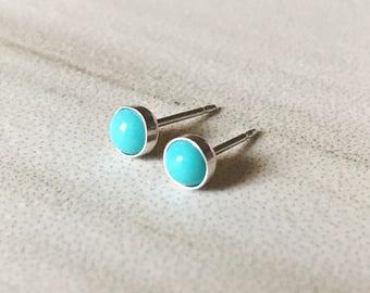 Tiny Turquoise Stud Earrings // Sleeping Beauty Turquoise // Sterling Silver Studs // 3mm 4mm 5mm 6mm // Gold fill studs