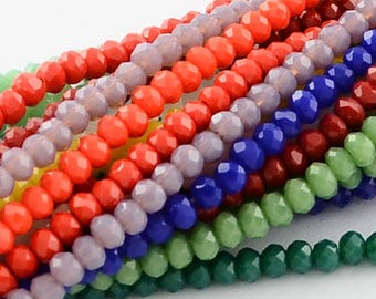 Pick color - 2x3mm Micro Rondelle Tiny Small Glass Faceted Rondelle Beads, Abacus Beads Strand, Opal glass colors, great for bracelets