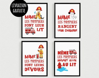 PROMO: Set of 4 Posters 21x30cm quotes fire pele mele in a room baby - poster