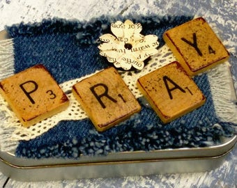 Prayer Box with Denim and Scrabble Letters on Lid