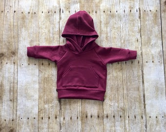 Baby sweatshirt // baby hoodie // toddler sweatshirt // toddler hoodie // burgundy hoodie // burgundy sweatshirt