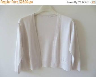 ON SALE White off Bolero Short White Cardigan Women Summer Jacket White Small Jacket Simple Summer Cardigan Size Small Bolero