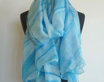 Shawl, scarf, scarf, pareo... 4 in 1. Very large Royal Blue scarf light and fluid silk. Unique painted, signed, hand hemmed.