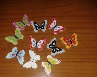 10 Buttons Wood colored butterflies creative sewing hobby