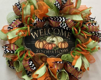 Fall Welcome Wreath, Fall Wreath, Deco Mesh Fall Wreath, Fall Front Door Wreath, Welcome Wreath, Fall Decor, Thanksgiving Wreath