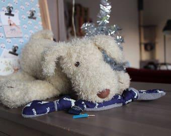 Fabric and fleece dog bone toy