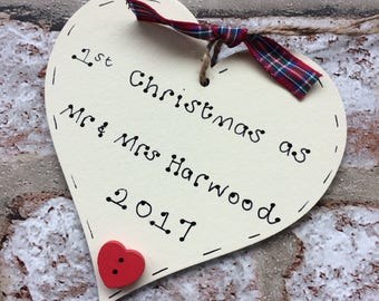 1st Christmas married | First christmas as Mr and Mrs | Personalised 1st Christmas married tree decoration | Handmade christmas decoration
