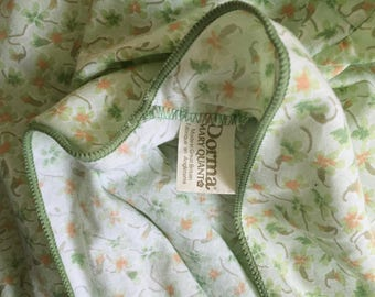 Vintage DORMA MARY QUANT green ditsy floral double bed valanced sheet
