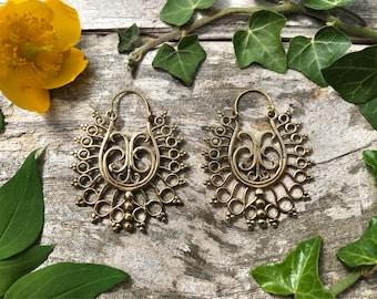 Brass earrings, tribal earrings, bohemian jewellery, bohemian earrings, boho earrings, handmade earrings, indian earrings, ethnic jewellery