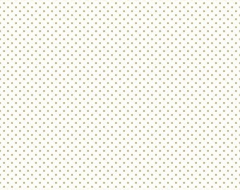One Yard Cut - Swiss Dot on White Color Gold - Rose Gold & Gold Basics by Riley Blake Designs -  Quilters Cotton- Fabric by the Yard