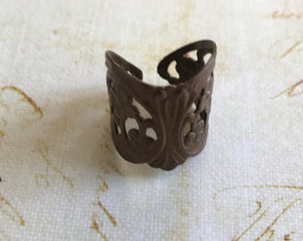 Ornate Vintage Brass Adjustable Ring