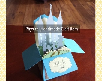 LDS (Mormon) Salt Lake Temple Box Gift Card with statue in front of temple