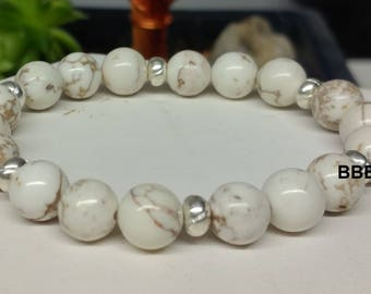 Bracelet magnesite 8mmx3 and Tibetan silver rondelle beads