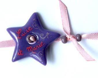 Personalized name bracelet Star Pink and purple tones
