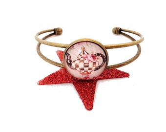 SALE 50% Alice Bangle Bracelet - tea time!