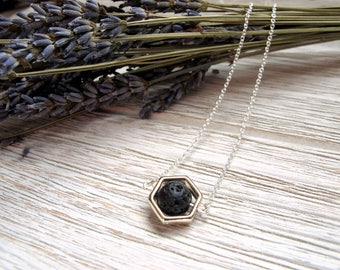 Essential Oil Diffuser Necklace, Minimalist Style, Diffuser Jewelry, Geometric Necklace, Hexagon Framed Lava Stone by FoxAndBearEssentials