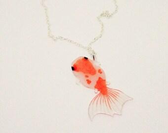 Oranda goldfish necklace fish jewelry realistic goldfish necklace orange goldfish jewelry kawaii goldfish necklace animal jewelry