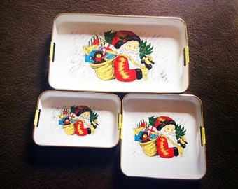 Vintage 3 pieces lacquer trays set made in Japan expressly for The Market Place, Santa trays, Christmas tray in original box.