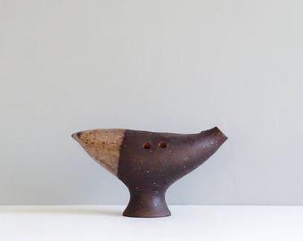 Mid century Thomas Hellstrom Nittsjo Pottery Sweden Bird Figurine Scandinavian Ocarina