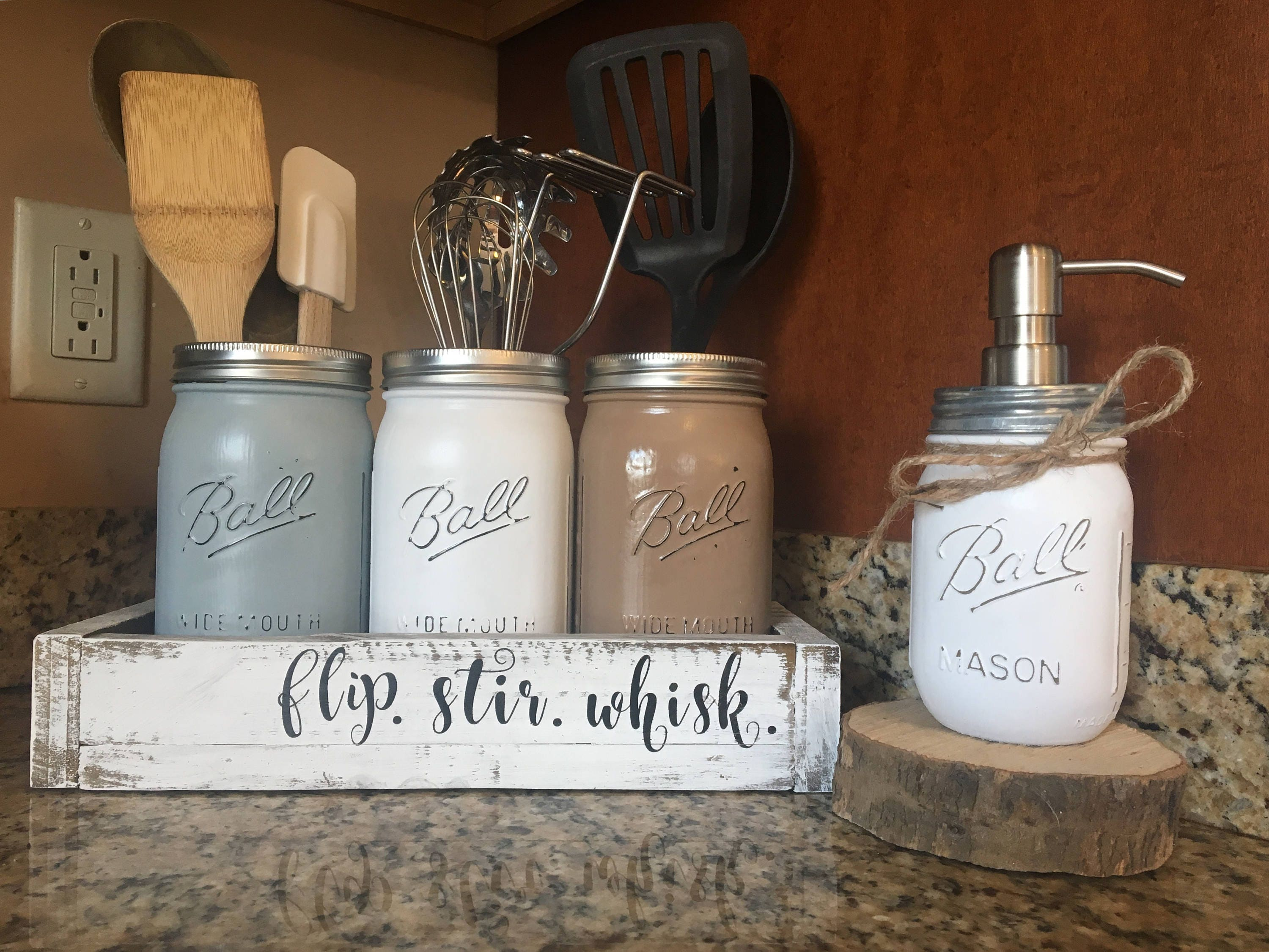 Mason Jar Utensil Holder Utensil Holder Mason Jar Canister