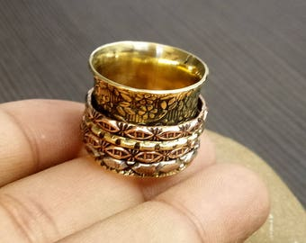 Flower Spinner Ring | Indian Festive Gift Ring | Anniversary Gift Jewelry Ring | Bohemian Ring | Statement Ring | Anxiety Brass Ring | R28