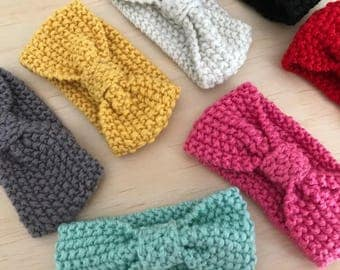 Baby headbands knitted - winter colours