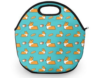 Blue Corgi Bread Loaf Neoprene Fabric Lunch Tote | 12 x 12 inches with Zip Top | Customizable and Made to Order