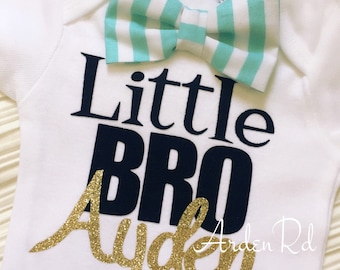 Customized Little Bro/Personalized Onesie/Personalized Brother/Little Brother Bow Tie Onesie/Welcome Baby/Baby Brother Shirt/Boy Onesie/Boys