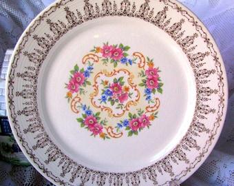 "Sebring Pottery Rose Bower Dinner Plate, Circa 1930s USA 10 1/2"" Serving Plate, Pink Roses & 22 K Gold Filigree Pattern S528, Wedding China"