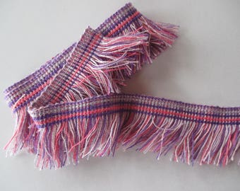 Cotton fringe degrade color, light pink, Fuchsia pink white and purple height 4 cm.