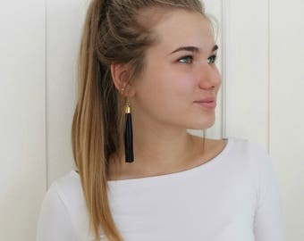 Black leather tassel earrings, tassel with gold or silver color elements