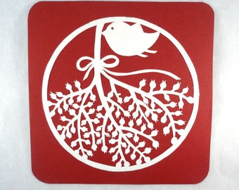 Burgundy white square card papercutting mistletoe branch bird