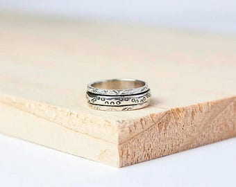 15% OFF Liesel Spinning Ring, Sterling Silver Spinner Ring, Anxiety Ring, Fidget Ring, Worry Ring, Meditation Ring, Fidget Jewelry, Silver S