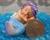 Miniature Sleeping Baby Mermaid ~ Fairy Garden Blue Mermaid Figurine for Fairies ~ Mythical Mermaid Home and Party Decor, Fairy Accessory