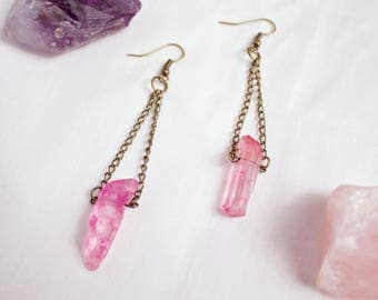 Pink Quartz Earrings With Chain