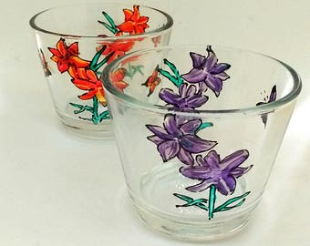 Thank you gift, hand-painted glass, flowers, candle holders, thank you present, little gift, set of two, lily design, lilies