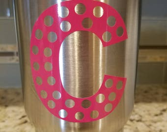 Monogram polka dot letter Decal. Permanent vinyl. Perfect for Yeti & Rtic tumbler cups, phones, laptops, car windows, home decor, kids room.