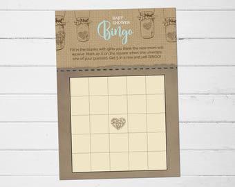 Mason Jar Baby Shower Bingo Game, Printable Mason Jar Baby Shower Bingo Game, Mason Jar Bingo Game Printable, Baby Shower Bingo Games
