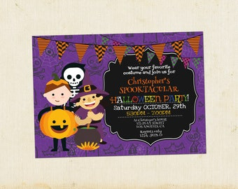 Kids Halloween Party Invitations, Halloween Party, Printable Halloween Costume Party, Editable PDF, Instant Download, Kids Costume Party