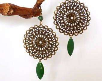 Dark Green Enamel Sequin Bohemian Bronze Earrings