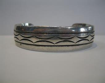 Vintage Signed Albert McCabe Sterling Silver 925 Navajo Stamped  Story Teller Cuff Bracelet