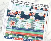 July Notes Page | Erin Condren Notes Kit, Weekly Vertical Stickers, Summer Kit, Vacation, Holiday, Floral Kit, Dog, Beach, Navy, Orange