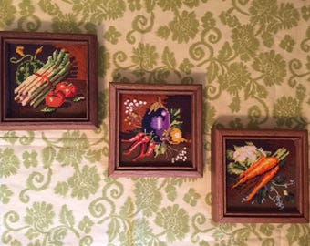 Vintage Needlepoints, Set/3, Framed Vegetable Kitchen Needlepoint, Dining Room Decor, Farmhouse Chic