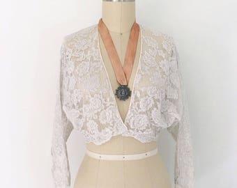 Antique 1920s 1930s Dove Gray & Blush Rose Lace Bolero